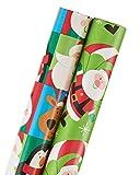 American Greetings Christmas Wrapping Paper, Juvenile Santa & Friends Blocks, Santa, 2-Roll, 60 Total Sq. Ft.