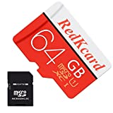 RedKcard Micro SD Card Memory Card Mini SD Card SDHC SDXC TF Card for Smartphone Tablet (64GB, Red)