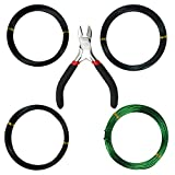 Kebinfen Tree Training Wires for Bonsai Tree, with Bonsai Wire Cutter - Size 1.0 mm/1.5 mm/2.0 mm (Each Size 32 ft/10 m), Anti-Corrosion and Rust Resistant