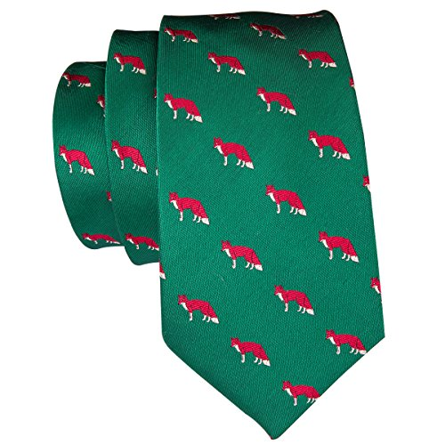 Hi-Tie Men Green Red Fox Pattern Floral Tie Necktie with Cufflinks and Pocket Square Tie Set