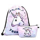 Deanfun Print Drawstring Backpack Rucksack Shoulder Bags Gym Bag (Animals,foods) 15″x11″ (Unicorn) For Sale