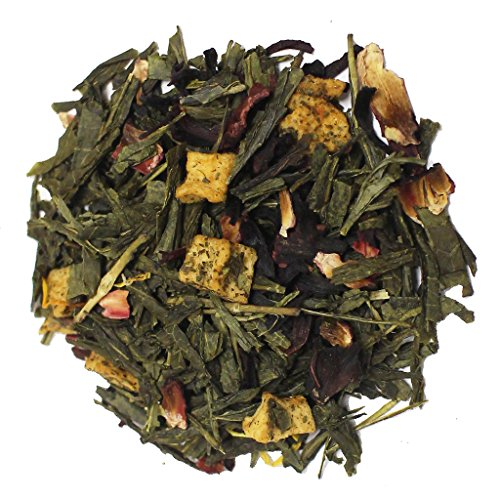 The Tea Farm - Mixed Mango Hibiscus (Floral) - Premium Tropical Hawaiian Loose Leaf Green Tea Blend (2 Ounce Bag)