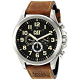 CAT WATCHES Men's 'Operator Multi' Quartz Stainless Steel and Leather Watch, Color:Brown (Model: PU14935114)