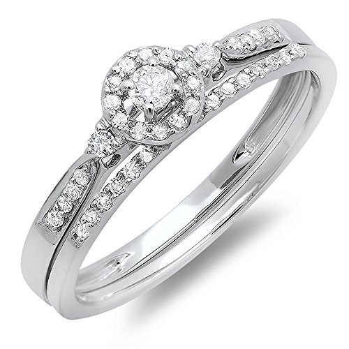 0.27 Carat (ctw) 10K Gold Round Diamond Ladies Halo Bridal Engagement Ring Band Set 1/4 CT