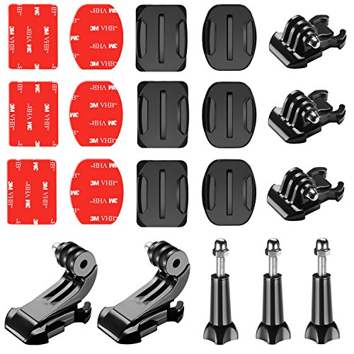 Neewer 20-in-1 Accessory Kit for Gopro:Buckle Clip Basic Mount,J-Hook Buckle Mount,Long Thumb Screw 3-Pack Adhesive Mounts with Sticky Pads for GoPro Hero 3 3+ 4 5 6 7 Accessories SJ4000 SJ5000 SJ6000 ()