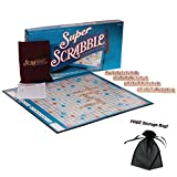 vintage scrabble tiles - Super Scrabble Classic Crossword Board Game with Free Storage Bag