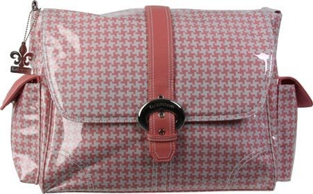 Kalencom Messenger Buckle Diaper Bag, Houndstooth/Pink