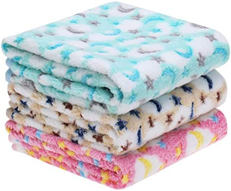 EXPAWLORER 3 Pack Pet Blanket – Super Soft Premium Fleece Small Dog Blanket for Puppy Cat Kitten with Cute Moon and Star Patterns, Pet Throw Blanket, New Puppy Supplies