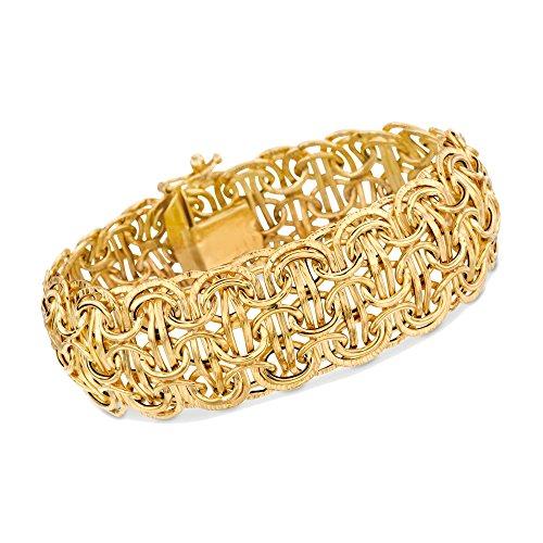 Ross-Simons Italian 14kt Yellow Gold Domed Byzantine Link Bracelet ()