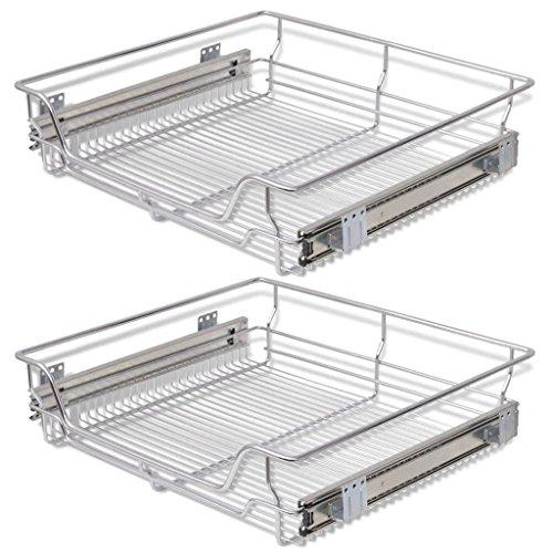 Festnight Pack of 2 Pull-Out Wire Storage Baskets Rack Sliding Steel Cabinet Slides Under Shelves Sliding Organizer for Kitchen Pantry Bathroom Cupboard (23.6