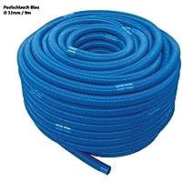 well2wellness 9m Blauer Schwimmbadschlauch Poolschlauch mit Muffen 32mm