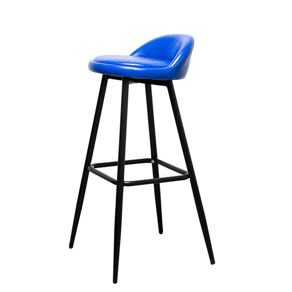 Bar Stools Modern Adjustable Swivel Dinning Chairs Modern Fashion Bar Chair Black Metal Legs Bar Stool Furniture Kitchen Bench Chair bluee PU Cushion Design (Sitting Height 79CM)