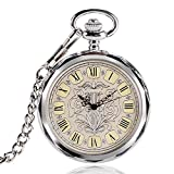 Luxury Pocket Watch, Irregular Silver Open Face Pocket Watch for Men Women, Mechancial Hand Wind Pocket Watch Gift