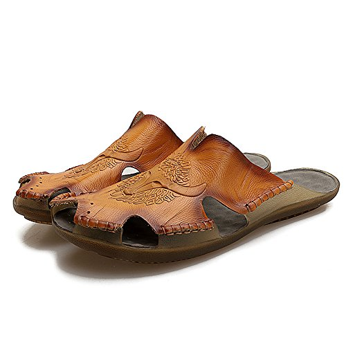 piatto NO chiuso morbido 2018 Casual pelle Dimensione antiscivolo vera Orange spiaggia Mens colla uomo Pantofole sandali EU scarpe Color da in da 44 shoes T7OTqw6