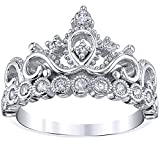 Guliette Verona Rhodium-Plated Sterling Silver Princess Crown Ring