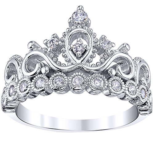 Guliette Verona Sterling Silver Princess Original Crown Ring ()