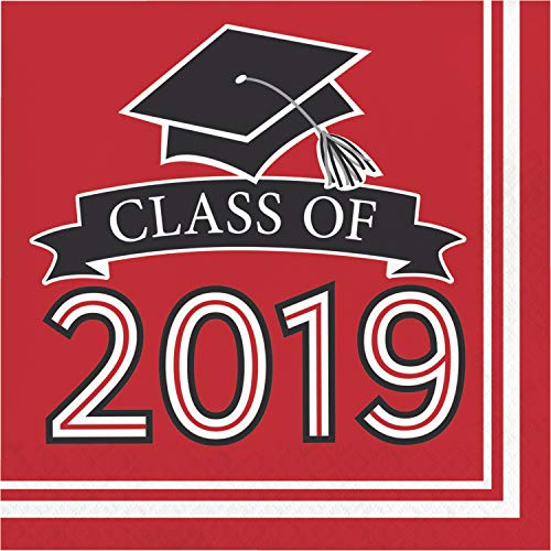 Creative Converting 335414 Red Class Of 2019 Napkins, 6.5