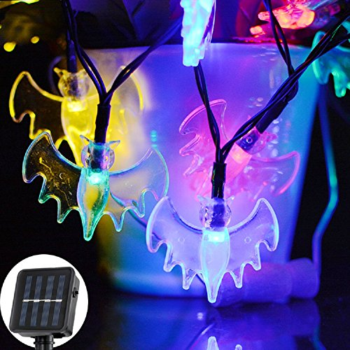 Solar Bat (Solar String Lights, 20ft 30 LED Bat Lights String for Patio Garden Gate, Yard, Parties Fairy String Lights Christmas Decoration Outdoor (multicolor))
