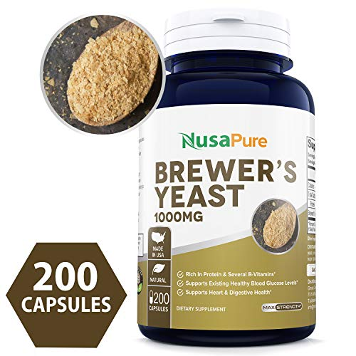 Brewers Yeast 1000mg 200caps (Non-GMO & Gluten Free) Supports Heart Health and Digestion (Best Brewers Yeast Tablets)
