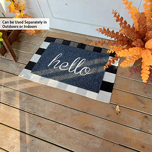 Lan Shan Que Welcome Mat With Non Slip Rubber Backing Super Absorb Mud Indoor Outdoor Hello Doormat Easy Clean High Traffic Areas Front Door Entrance Mat Pricepulse