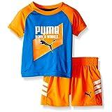 PUMA Baby Boys' Short Sleeve Tee and Short Set, Orange Blue, 3/6M