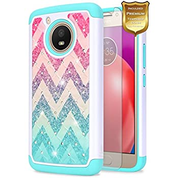 Moto E4 Case with [Tempered Glass Screen Protector], (USA Version Only XT1768) NageBee [Hybrid Protective] Armor [Studded Rhinestone Bling] Diamond Hard Case For Motorola Moto E 4th Generation (Wave)