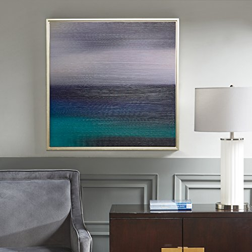 Madison Park Signature Blue Seascape Heavy Brush Gel Coat With Silver Framed Blue See (Madison Collection Wall)