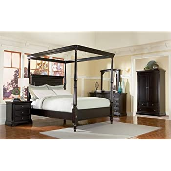 5pc Sahara Espresso Finish Queen Size Canopy Poster Bedroom Set