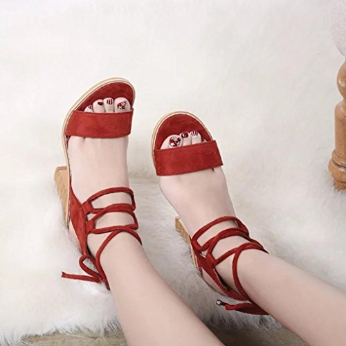 Inkach Womens Wedges Sandals - Fashion Summer Lace Up Sandals - Chunky Heeled Ankle Wrap Platform Shoes Red URurKNGjn5