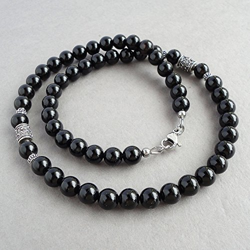 Handmade Beaded Gemstone Jewelry (8mm Black Onyx Men's Necklace - Sterling Silver Accents - Beaded Gemstone Jewelry - Handmade)