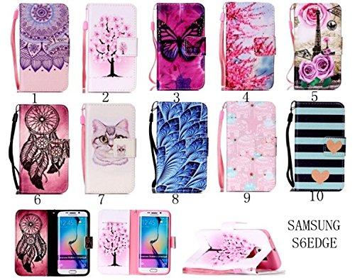 Para Smartphone Samsung Galaxy S6Edge móvil, Funda de piel para Samsung Galaxy S6Edge Flip Cover Funda Libro Con Tarjetero Función Atril magnético + Polvo Conector blanco 2 2