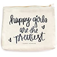 Happy Girls Are The Prettiest Makeup Bag Cosmetic Bag Bridesmaid Gift Make Up Bag Gifts For Her Audrey Hepburn Quote