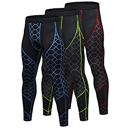Yuerlian Men's Compression Pants Baselayer Cool Dry Sports Tights Leggings Colorful Print 3 Pack