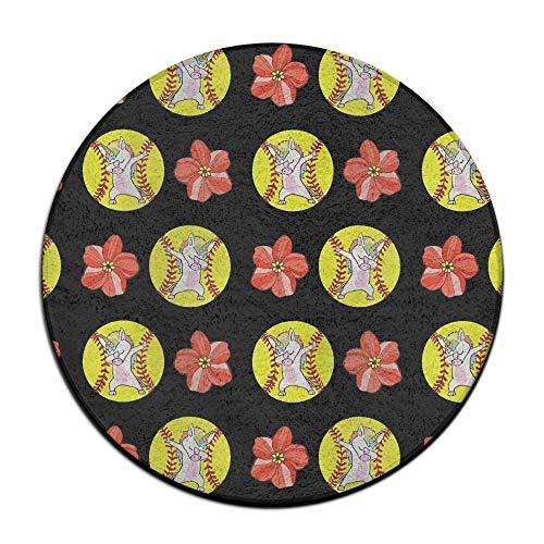 Round 29 Mat Baseball Floor - Jianyue Unicorn Baseball Flowers Doormats,Round Floor Mat Entrance Entry Front Door Mat,Office Rugs,Indoor Outdoor Decor Decorative,Floor Mat,Non Slip Soft Absorbent Bathroom Mat