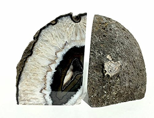 Dream Gem: Polished Agate Stone Bookends Pair (Black, 3-4LBS) -