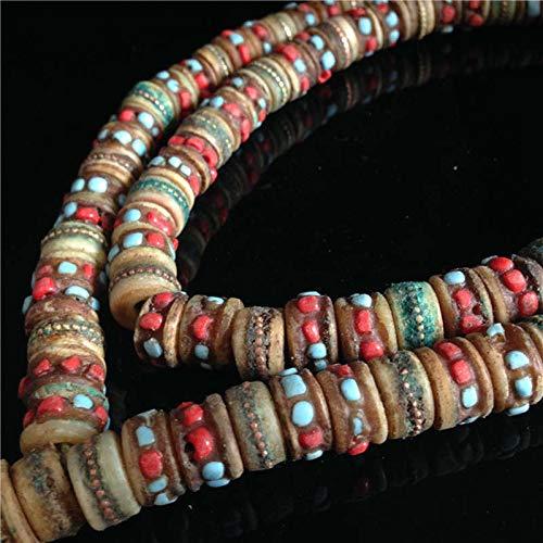 - Pukido BRO776 Tibetan Old Oiled Yak Bone Prayer Beads Tibet Traditional Hand Ox Bone Beads 108beads lot - (Item Diameter: 16mm 108beads)