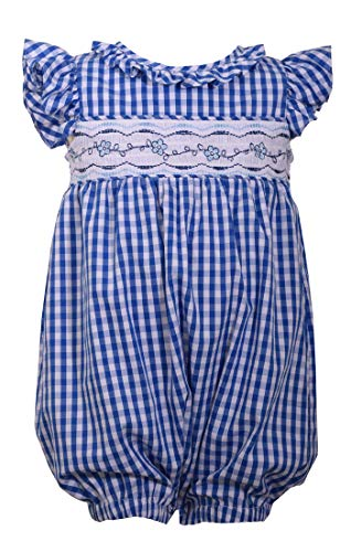 Bonnie Jean Blue Checked Gingham Smocked Romper (0m-24m) (12 Months)