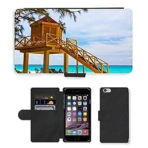 "PU LEATHER case coque housse smartphone Flip bag Cover protection // M00169826 Salvavidas de la playa Torre de la vida // Apple iPhone 6 PLUS 5.5"""