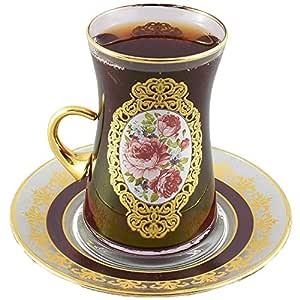 Juego de té turco de 2 tazas, vasos de té marroquí, tazas