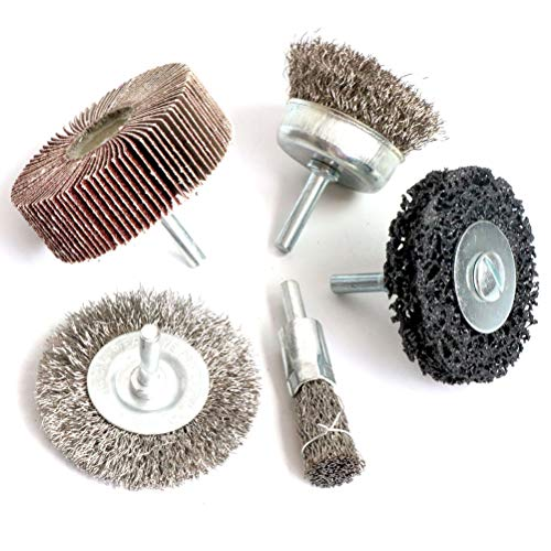 Crimped Wheel Brush - Stainless Steel Crimped Wire Wheel Brush & Wire Cup Brush Set,5PCS Flap Wheel and poly strip wheel Drill Accessory Kit with 1/4-Inch Shank,Perfect For Removal of Rust/Corrosion/Paint - Reduced Wire Br