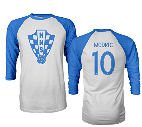4efd26cd875 Tcamp Croatia 2018 National Soccer  10 Luka MODRIC World Championship Men s  Quarter Sleeve Raglan T-Shirt (Royal