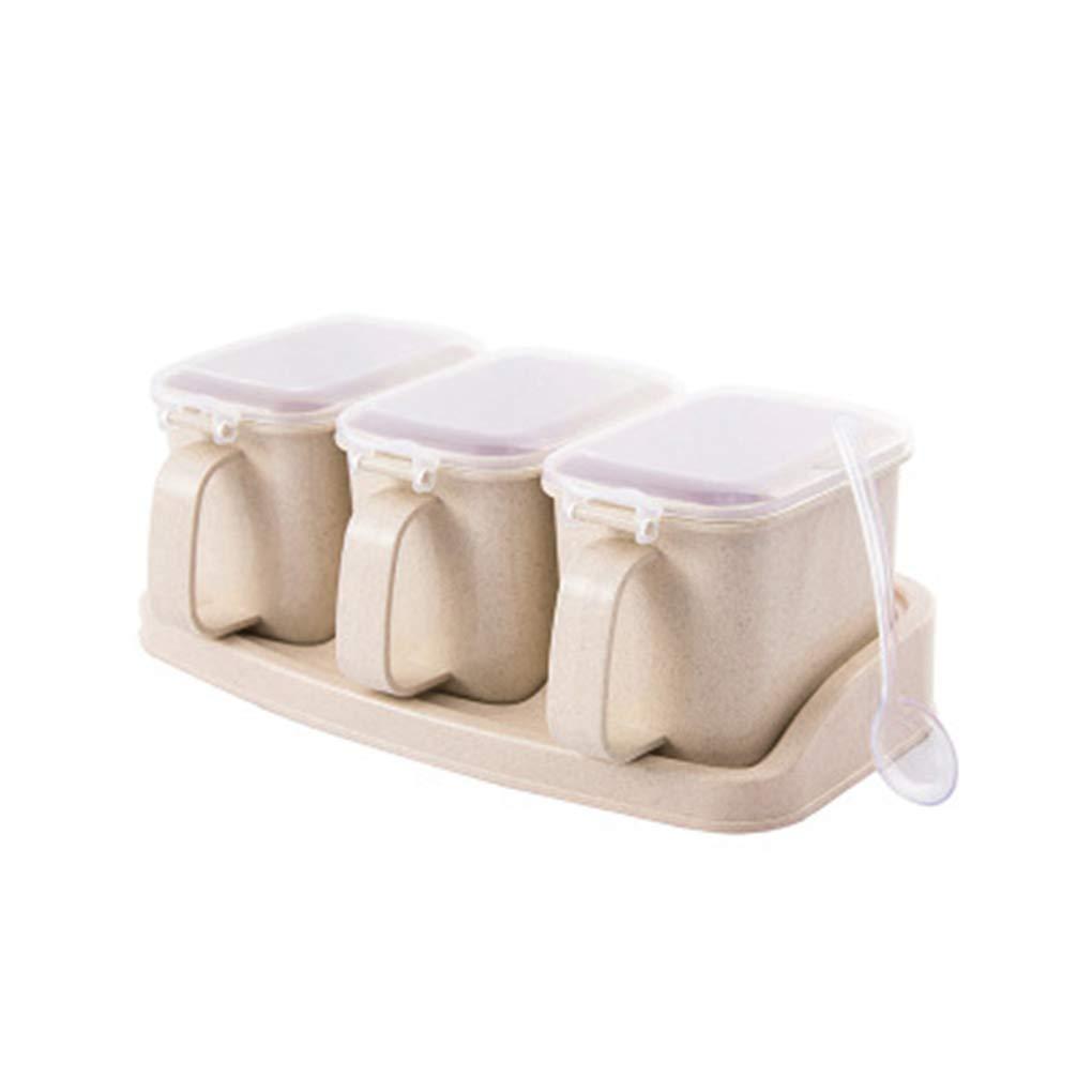 WESEEDOO Gew/ürzglas Set Gew/ürzspender Gew/ürz Vorratsbeh/älter Gew/ürzbox Kunststoff 3 Grids Gew/ürzhalter Mit L/öffel Zucker Salzbeh/älter 1pc beige