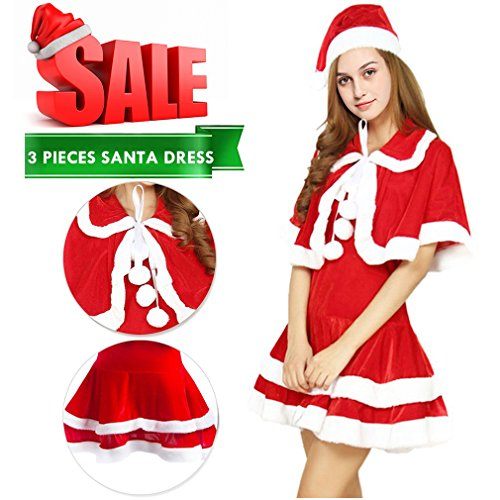 Mannice Women's Santa Costume Adult Velvet Miss Santa Suit Christmas Dress Miss Clause Suit,Holiday Santa Dress Christmas Gfits For Girl,Adult Type 2,Size XS To S (Santa Claus Costumes For Women)