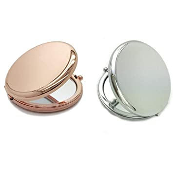 Amazon Com 2 Pcs 2 56 Inch Double Glossy Makeup Mirror Metal