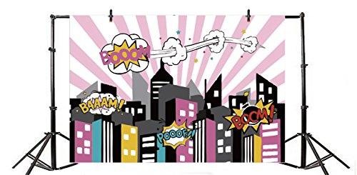 - Yeele 7x5ft Superhero Cityscape Photography Backdrops Vinyl Cartoon Humor Comic Book Abstract Explosion Illustration Baby Shower Photo Background For Girl Birthday Party Photo Shoot Studio Props