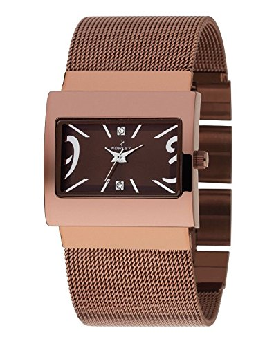 Reloj Mujer marca Nowley, en acero color chocolate, correa de malla en coloe chocolate