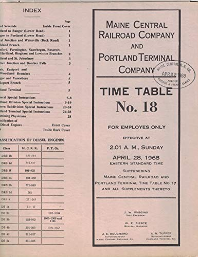 Maine Central Railroad Co and Portland Terminal Co Employee Time Table No. 18 April 28, 1968