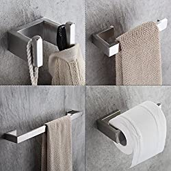 Fapully Four Piece Bathroom Accessories Set Stainless Steel Wall Mounted,Brushed Nickel Finished
