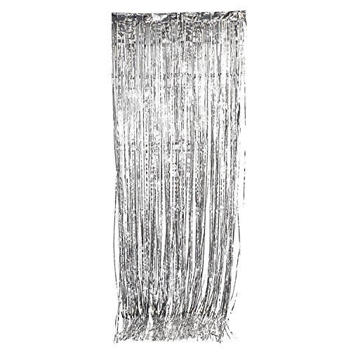 Tytroy Metallic Silver Tinsel Curtain Photo Booth Backdrop Event Decoration 3'x8' (1 ()