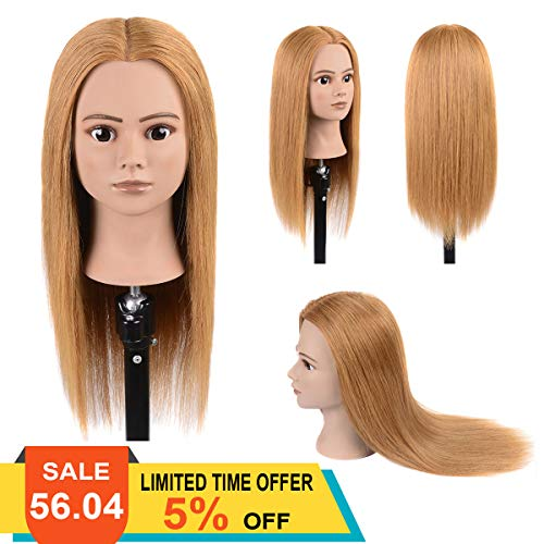 100% Real Human Hair Mannequin Head With Stand Cosmetology Training Mannequin Head Hairstyles Practice Dolls Light Blonde 20
